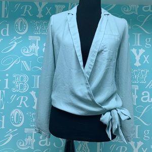 Gorgeous blue wrap blouse